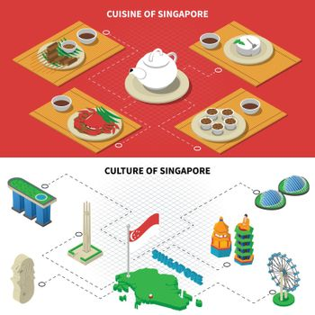 Singapore Culture Cuisine 2 Isometric Banners