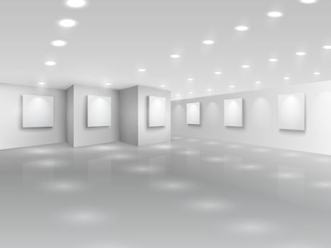 Realistic gallery hall with blank white canvases