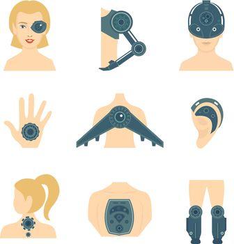 Human robot icon flat