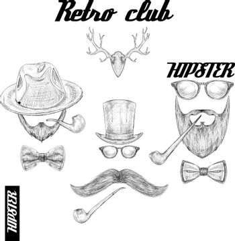 Retro hipster club accessories