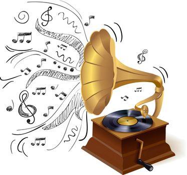 Music doodle gramophone
