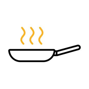 Frying pan vector flat icon. Kitchen appliance