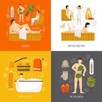 Bath Sauna Spa 4 Flat Icons