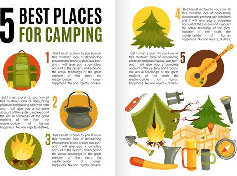 Camping Equipment Flat Infographics