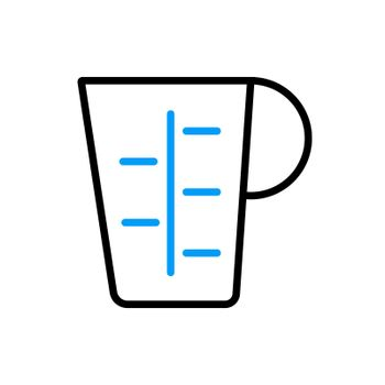 Measuring cup, beaker flat icon. Kitchen appliance
