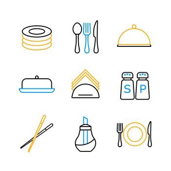 Restaurant vector icon set. Serving food sign