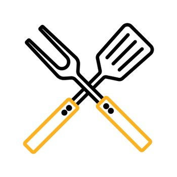Big fork and spatula vector icon. Kitchen appliance