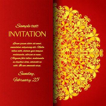 Red ornamental invitation card