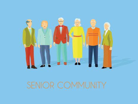 Senior Community People Group Flat Poster