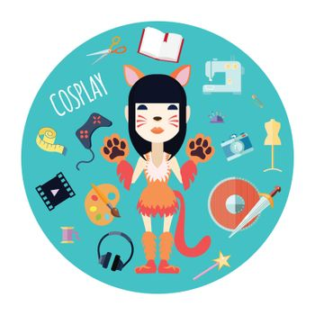 Cosplay Character Accessories Flat Round Illustration