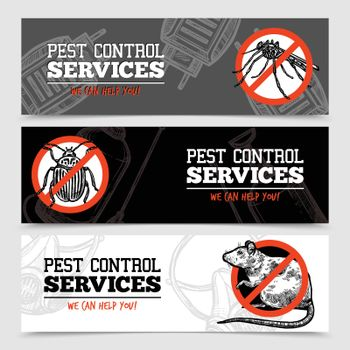 Sketch Pest Control Insect Banners