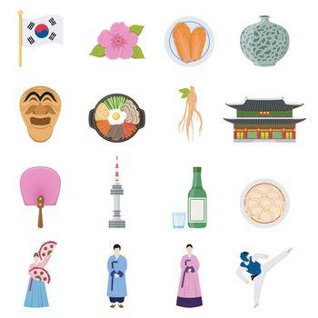 Korean Culture Symbols Flat Icons Collection