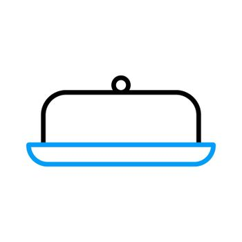 Butter dish vector flat icon. Kitchen appliance