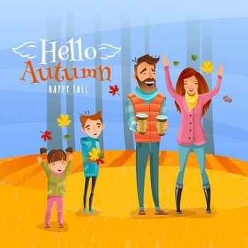 Family And Autumn Season Illustration