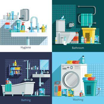 Orthogonal Hygiene Icons 2x2 Design Concept