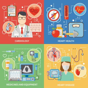 Cardiology Flat 2x2 Icons Set