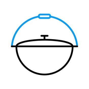 Camping cauldron from metal vector flat icon