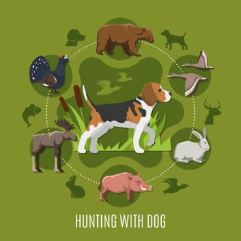 Hunting With Dog Concept