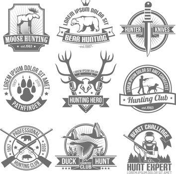 Black Hunting Emblems Set