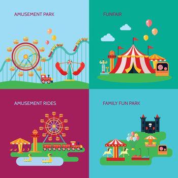 Amusement Park Concept Icons Set