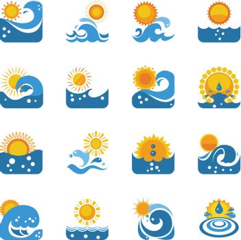 Blue Wave With Sun Icons Set
