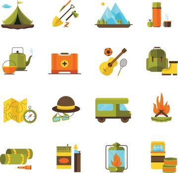 Camping Hiking Adventure Flat Icons Set