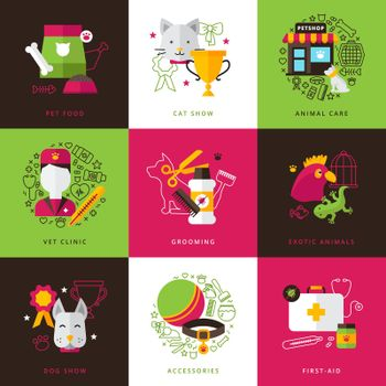 Veterinary Icons Compositions