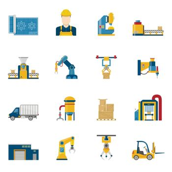 Production Line Icons Isolated
