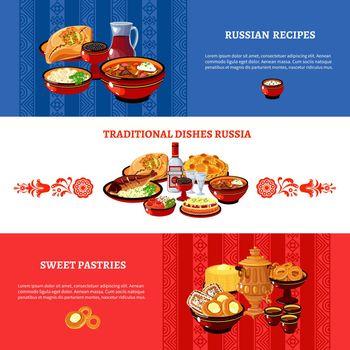 Russian Cuisine Flag Colors Banners Set