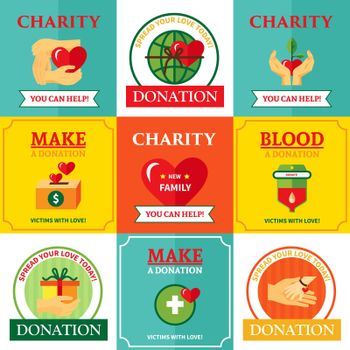 Charity Emblems Design Flat Icons Composition