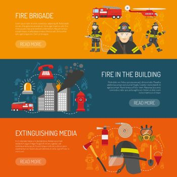 Firefighters Brigade Flat Banners Webpage Design