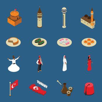 Turkey Touristic Isometric Symbols Icons Collection