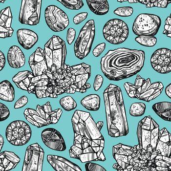 Stones Crystal Seamless Pattern