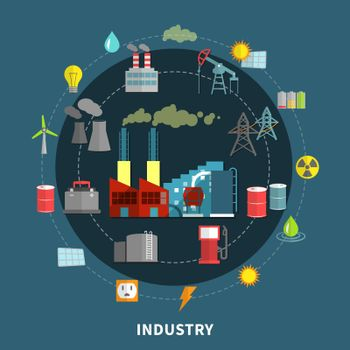 Vector illustration with industry elements