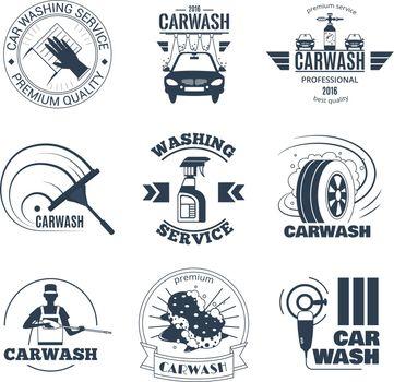 Car Wash Black Emblems Icons Set