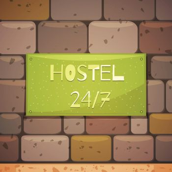 Hostel Signboard With Address On Brick Wall