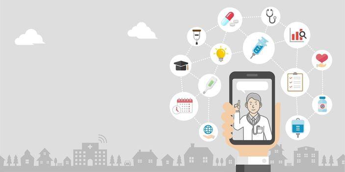 Telemedicine,  telehealth concept banner illustration ( no text )