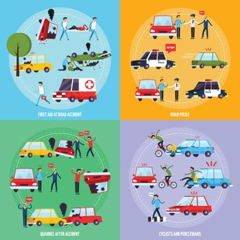 Road Accident Concept Icons Set