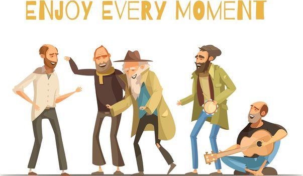 Cheerful Homeless People Illustration