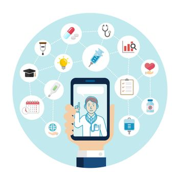 Telemedicine,  telehealth concept banner illustration (round type)