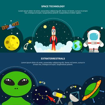 Space Technology Banners Set