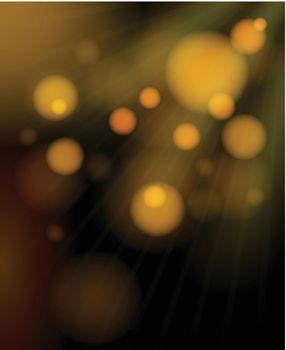 Blurred golden bubbles shimmering background