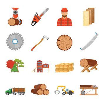 Sawmill Timber Icon Set