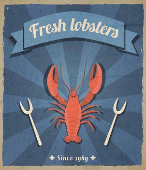 Lobster retro poster