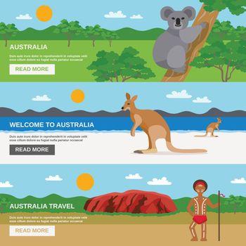 Australia Travel Horizontal Banners Set