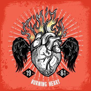 Burning Heart Tattoo Poster