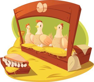 Hen And Eggs Cartoon Concept