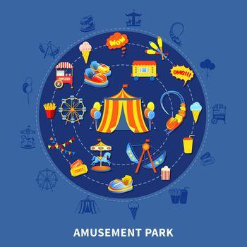Amusement park set vector illustration