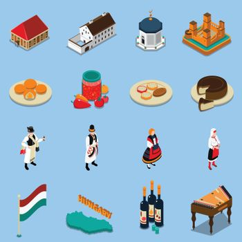 Hungary Isometric Touristic Icons Set