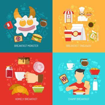 Breakfast Concept Icons Set